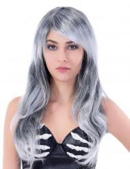 Parrucca grigia lunga ondulata donna