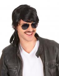 Parrucca taglio  mullet  nera e liscia per uomo