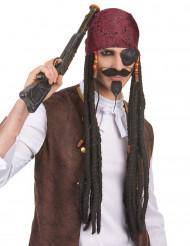 Parrucca con rasta lunghi e neri da uomo