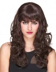 Parrucca deluxe castana, lunga e ondulata per donna