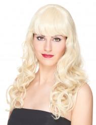 Parrucca deluxe bionda, lunga e ondulata per donna