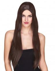 Parrucca deluxe lunga castano donna