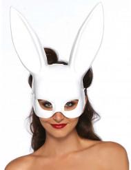 Maschera da coniglio bianca con grandi orecchie