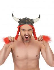 Elmo Vikingo in lattice con corna per adulto