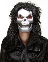 Maschera adulto teschio capelluto Halloween