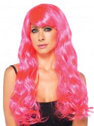Parrucca lunga boccoli rosa