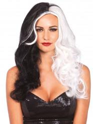 Parrucca lunga donna crudele nera e bianca - Premium
