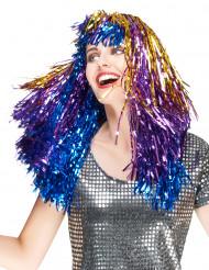 Parrucca metallica multicolore lunga donna