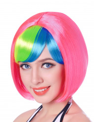 Parrucca corta rosa frangia multicolore