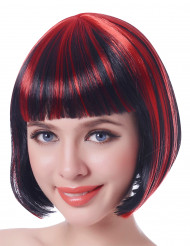 Parrucca donna diabolica Halloween ciocche rosse