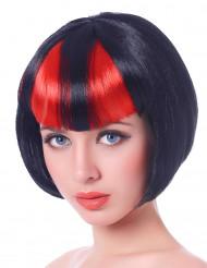 Parrucca caschetto nero con ciocche rossediavolessa Halloween