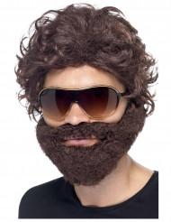 Parrucca con barba marrone  e occhiali da sole per adulto