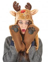Cappello con sciarpa renna adulto Natale