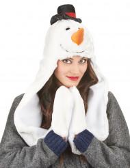 Cappello con sciarpa pupazzo di neve adulto