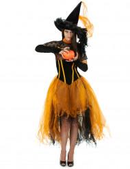 Costume strega arancione donna Halloween