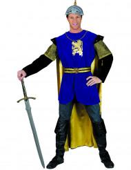 Costume cavaliere blu e dorato uomo