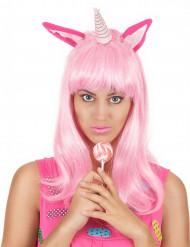 Parrucca lunga rosa unicorno donna
