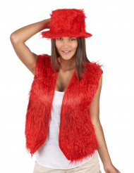 Gilet peluche rosso adulto