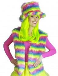 Gilet in pelouche arcobaleno adulto