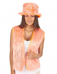 Gilet peluche arancione adulto