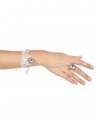 Braccialetto e anello in pizzo bianco donna