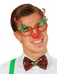 Occhiali da renna con naso rosso adulto Natale