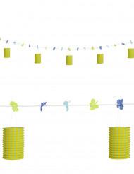 Ghirlanda fiori e lanterne verde giallo 3 m
