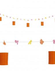 Ghirlanda fiori e lanterne arancione rosso 3 m