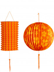 2 Lanterne arancioni e gialle Hawaii