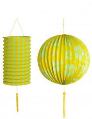 2 Lanterne gialle e verdi Hawaii