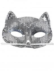 Maschera Gatto argentata per adulto