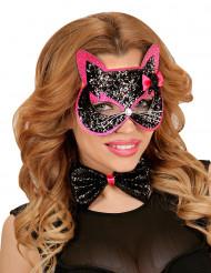 Maschera Gatto nero e rosa per adulto
