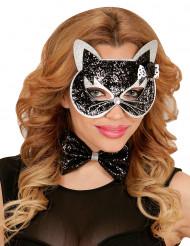 Maschera gatto nero con brillantini per adulto