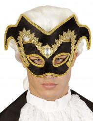 Mezza maschera veneziana nera e dorata per uomo