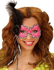 Maschera Veneziana piume nere per donna
