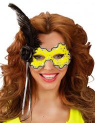 Maschera gialla con piume nere per donna