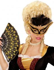 Image of Maschera di Carnevale barocco con piume nere per adulto