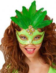 Maschera di Carnevale con strass e piume verdi per adulto