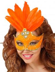 Maschera arancione con piume per donna