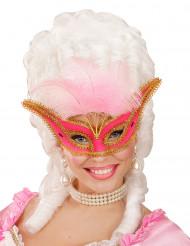 Maschera di Carnevale barocco con piume rosa per adulto