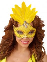 Maschera di Carnevale gialla con strass e piume per adulto