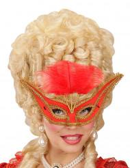 Maschera di Carnevale barocco con piume rosso per adulto
