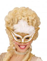 Maschera di Carnevale barocco con piume bianche per adulto