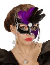 Maschera di Carnevale bicolore con piume nere e viola per adulto