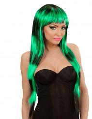 Parrucca lunga frangia nera verde