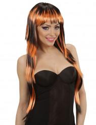 Parrucca lunga frangia nera arancione