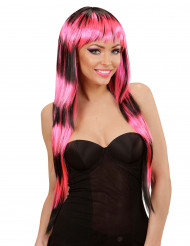 Parrucca lunga frangia nera rosa donna