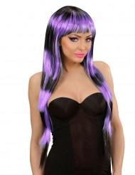 Parrucca lunga nera e viola donna