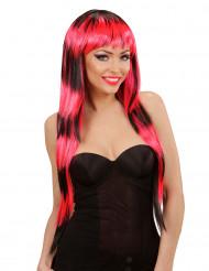 Parrucca lunga frangia nera rossa