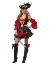 Costume Pirata rosso per donna - Premium